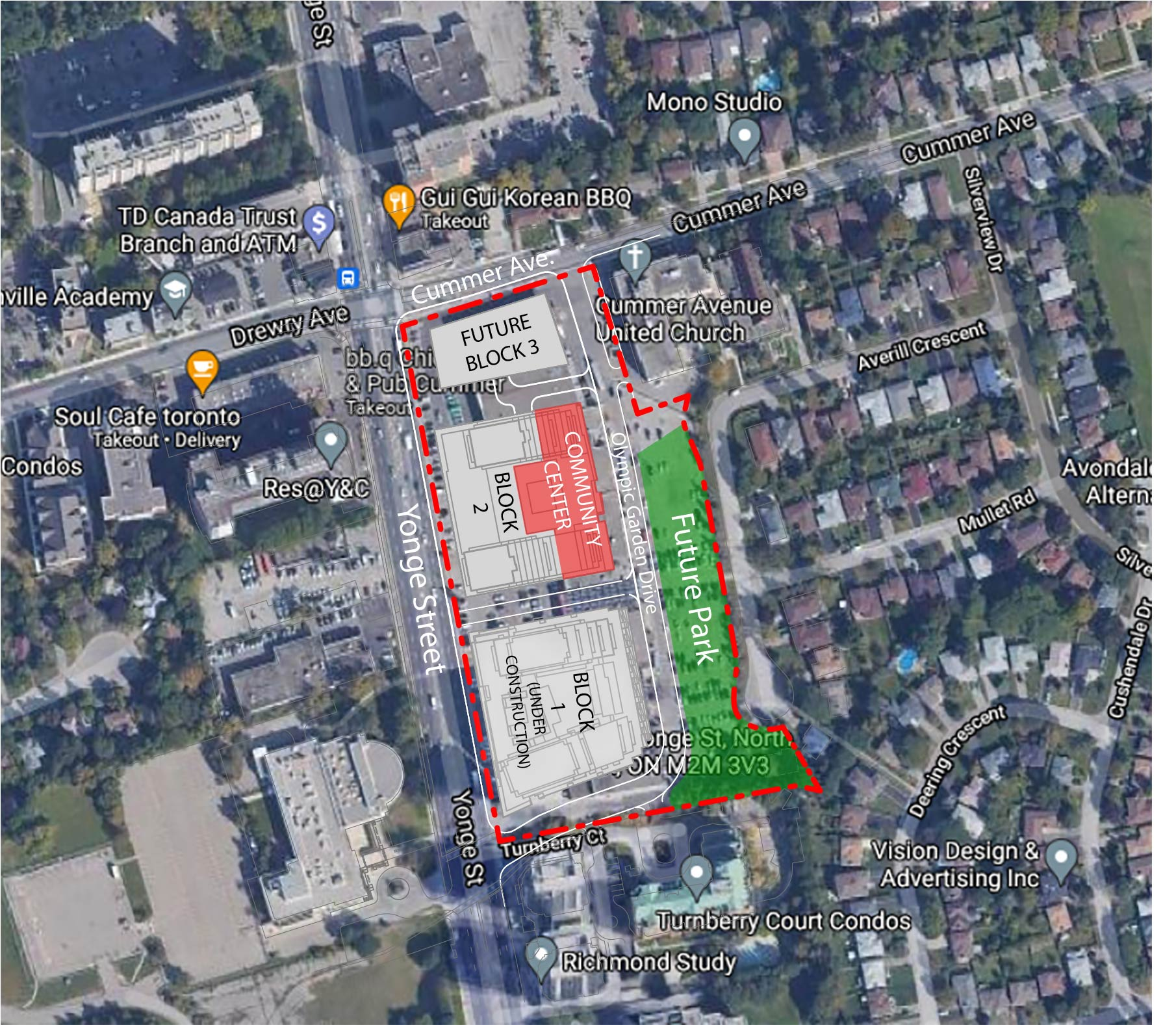 An aerial location map showing the location for the new Newtonbrook Community Recreation Centre, shown in red. The community centre will be located just south of Cummer Avenue and can be accessed from Yonge Street or a new residential street names Olympic Garden Drive. The development site is outlined in red and includes a park, shown in green, which is across from the community centre on Olympic Garden Drive.