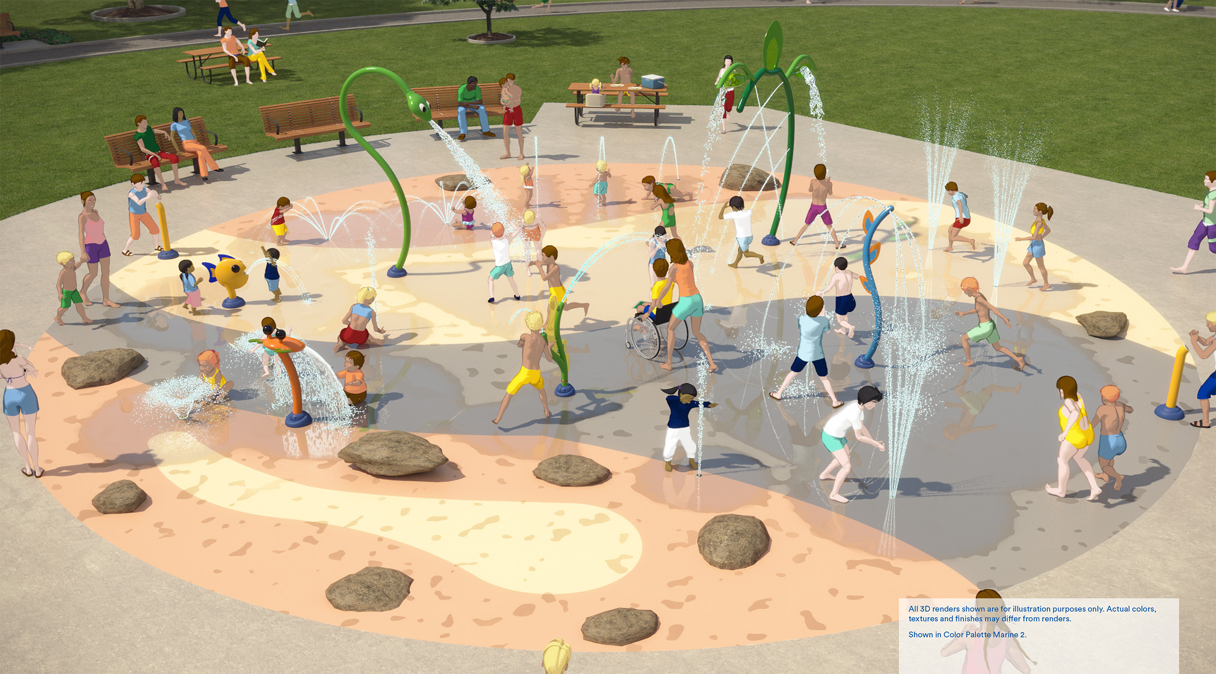 """A rendering of the new splash pad for Earlscourt Park, featuring a """"by the sea"""" theme. The renderings includes children and families playing around the spray elements, play stream with boulders, new seating and shade umbrellas."""
