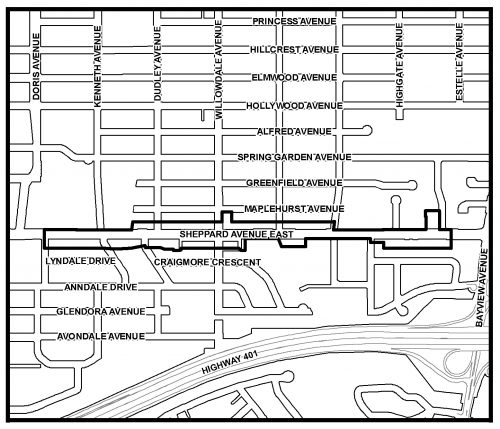 Study area map of the Sheppard Avenue Commercial Area Secondary Plan Review, along the East segment of Sheppard Avenue