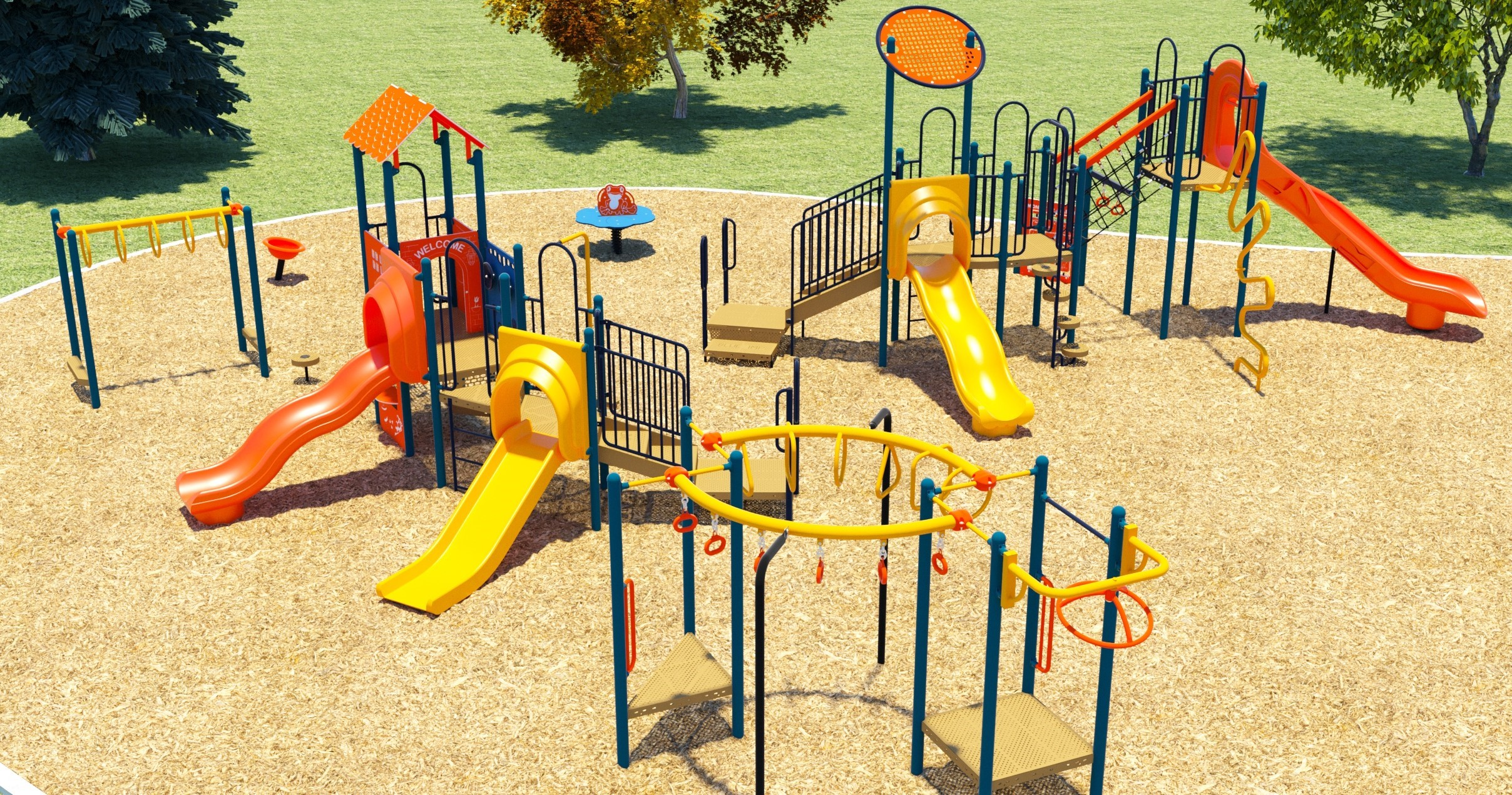 An rendering of the new playground showing a A junior play structure (ages 2 to 5) with: one straight and one wavy slide, Three climbing options, Money bars, and Three play panels; a A senior play structure (ages 5 to 12) with two large slides, Three climbing options, Multiple monkey bars; One leaping lily pad; and One cup spinner.