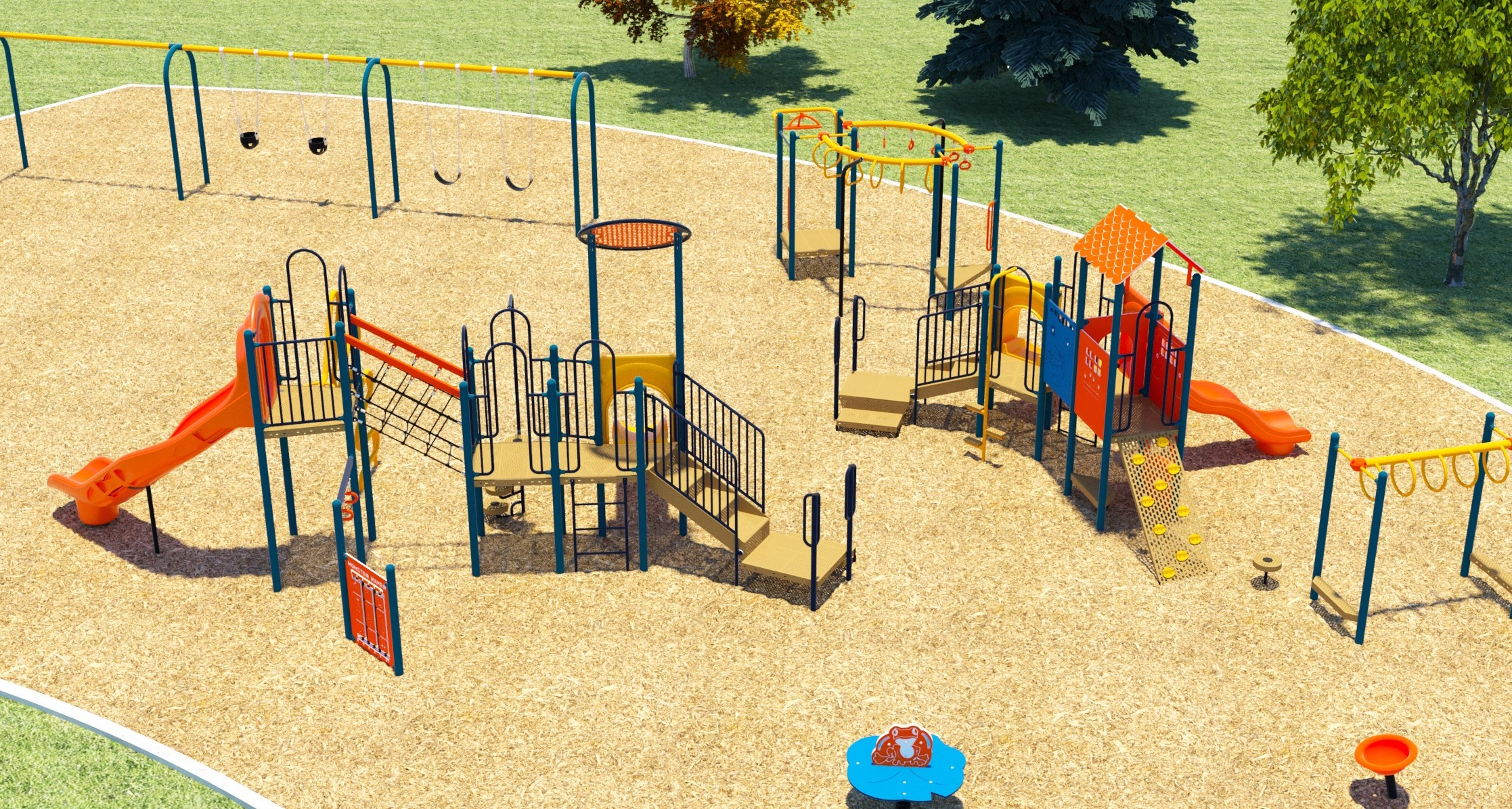 Aerial image of the playground showing Two belt swings, two toddler swings and one accessible swing (the accessible swing is not pictured, but will be located beside the toddler swing), a monkey bar structure, a senior and a junior play structure, each with slides and various climbing options, and a second set of monkey bars. In the forefront there are two stand-alone seated toys.