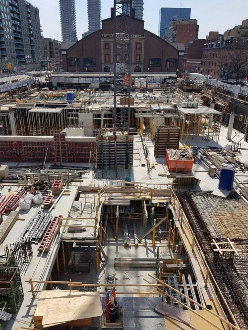 St. Lawrence Market Redevelopment - parking Level 1 perimeter foundation walls ongoing, and interior columns underway.