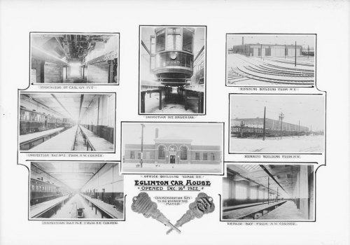 Interior and exterior of low brick building. Some images show tracks where streetcars were suspended so workers could reach underneath them to do repair work.