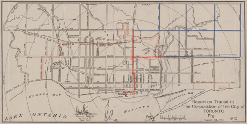 Map of Toronto showing in red the route of the Yonge Street subway from Union Station to Eglinton Station.