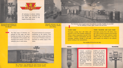 A brochure featuring photographs of the inside and outside of subway stations, and ticket machines.