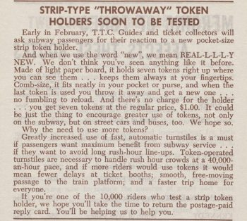 Article titled strip-type throwaway token holders soon to be tested.