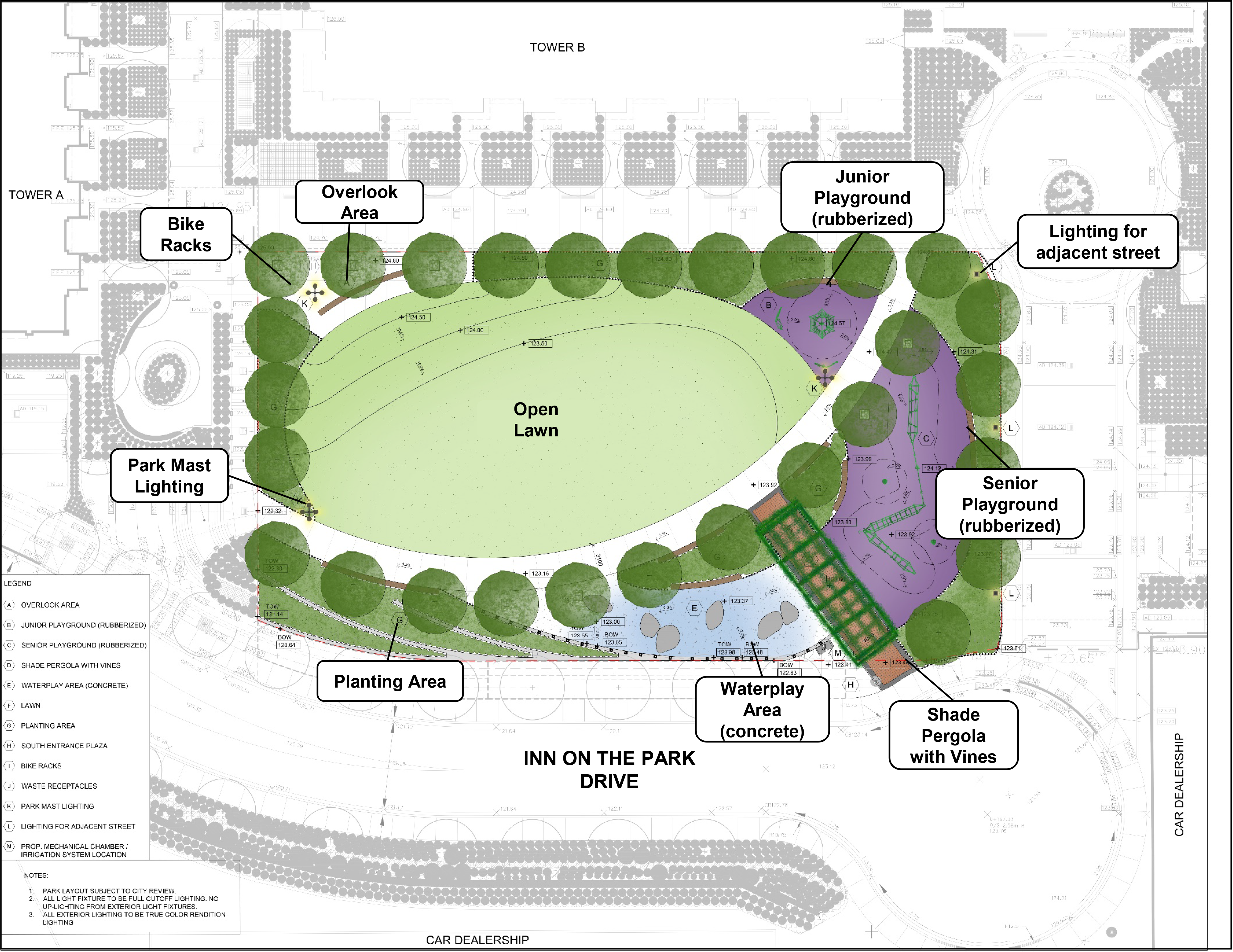 An aerial image of the final concept plan for the new park at the Leslie and Eglinton development is shown. The concept plan includes a separated junior and senior kid's playground areas located on the east side of the park, an overlook area moved to the park's north-east corner, a south entrance plaza and shade pergola with vines, and a paved walkway stretching from the north-east and south-west corners of the park