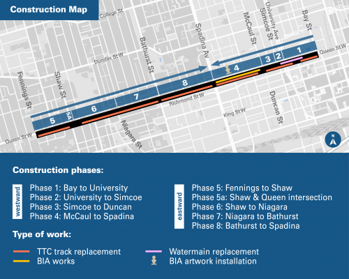 Queen Street West Construction Map from Bay Street to Fennings Street