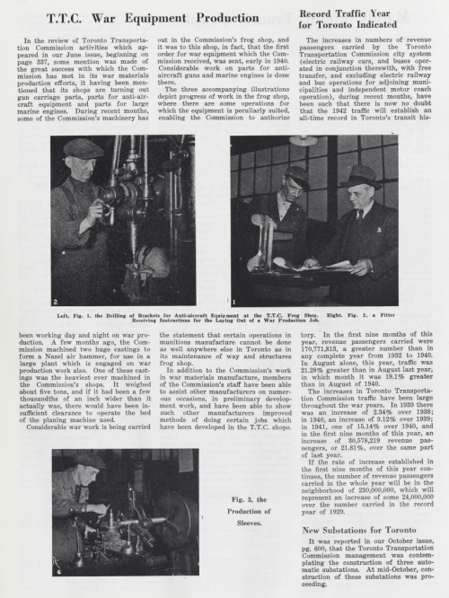 """Three articles on one page. They are titled """"T.T.C. War Equipment Production"""", """"Record Traffic Year for Toronto Indicated"""", New Substations for Toronto"""""""