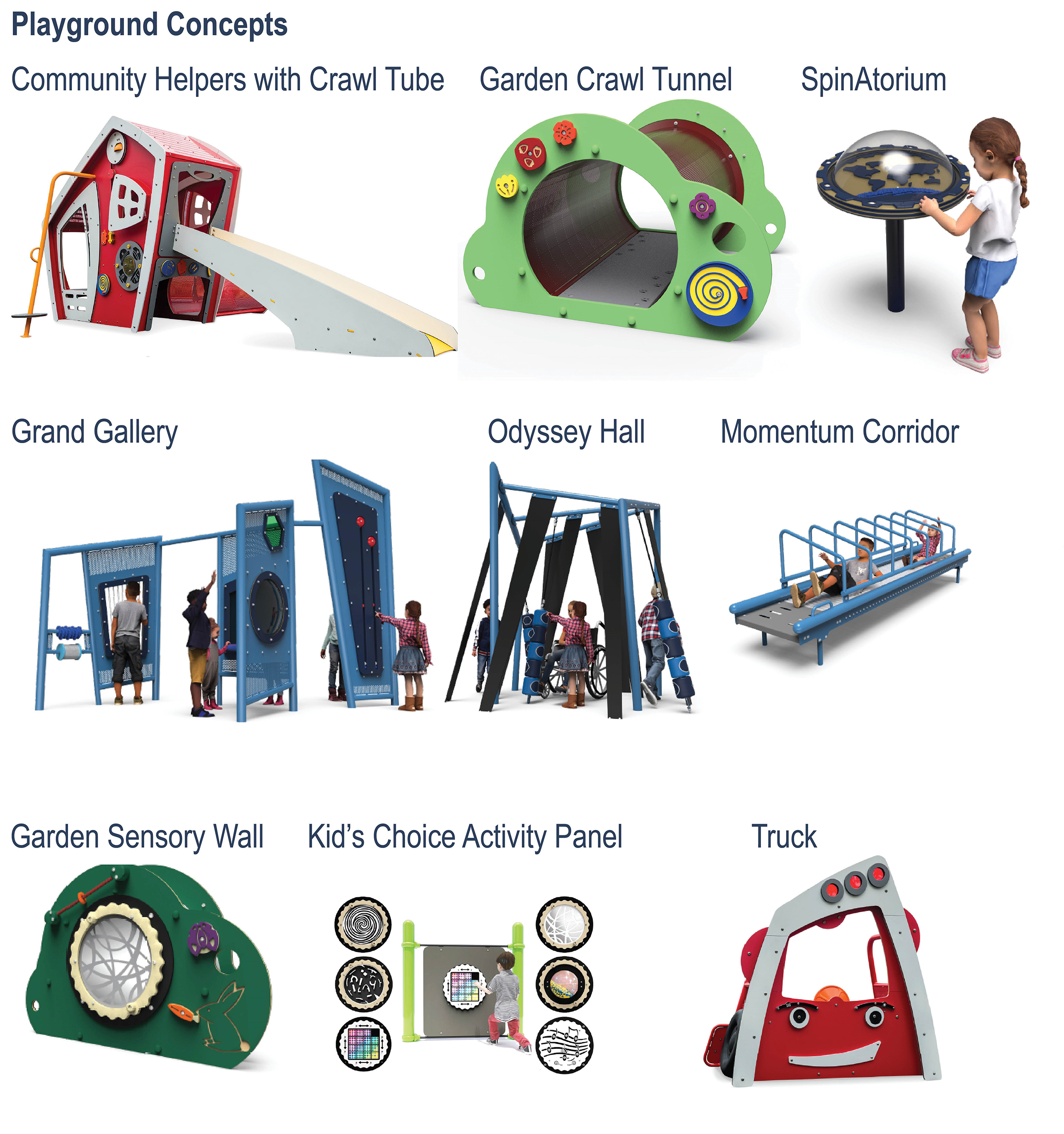 An image that includes nine different themed playground structures proposed for the new playground. The play elements are labeled as follows: community helpers with crawl tube, garden crawl tunnel, spinatorum (a standing globe with spin toy functions), grand gallery (multiple standing play panels), odessey hall (small labyrinth or tall standing interactive features), momentum corridor (vertical slide-like tunnel), garden sensory wall (garden-themed green panel with functions), kid's choice activity panels and truck (red).