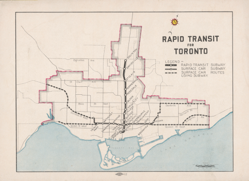 Map of Toronto showing planned rapid transit lines along Yonge Street to North York, and east and west along Queen Street. There are also smaller diagonal lines going from downtown to Weston and the Danforth.