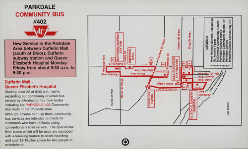 A map showing the route of the bus. It also has text explaining that the bus can be used by anyone but is mostly for people who have difficulty using the conventional bus service, and features a lower door and space for wheelchair users.