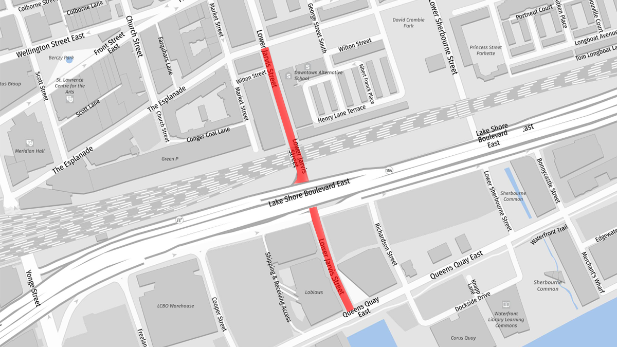 Red line indicates location of construction on Jarvis Street for watermain replacement. From The Esplanade to Queens Quay.