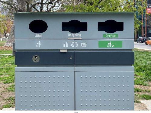 public waste bin with organic slot for dog waste