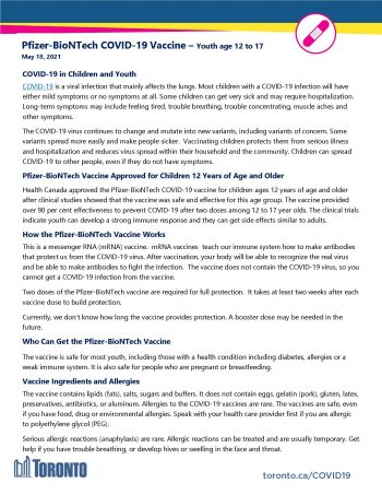 screenshot of COVID-19 vaccine fact sheet for youth age 12 to 17