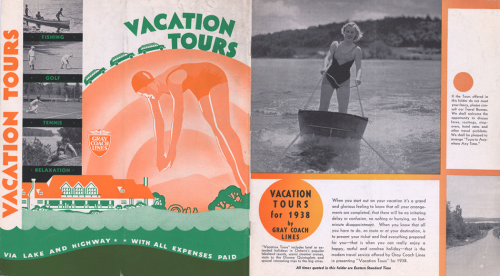 A vacation tours brochure with photographs showing people water skiing, fishing, golfing, and playing tennis. There is also a drawing of a large resort hotel.