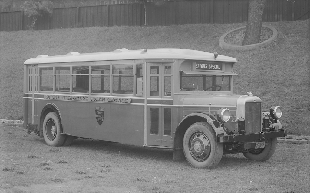 Empty bus showing front and side view.