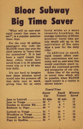 Pamphlet page titled Bloor Subway big time saver