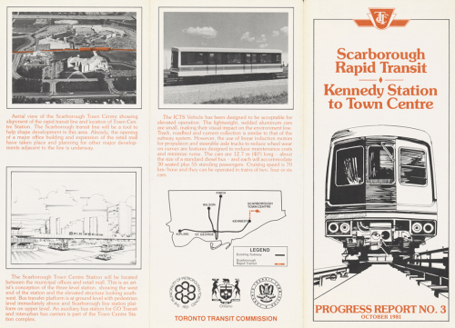 Pamphlet with perspective drawing of elevated track. Includes new ICTS vehicle to be used.