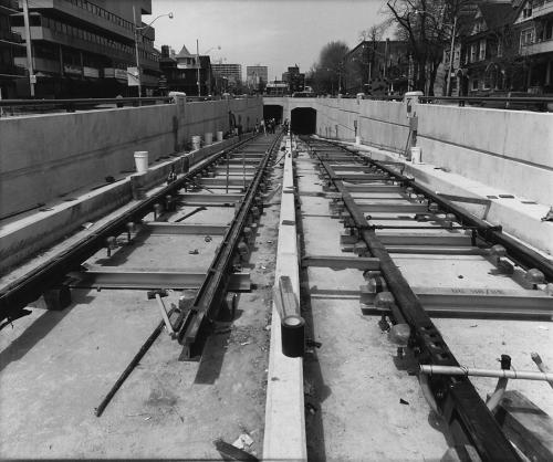 Newly installed trackwork heading down ramp,