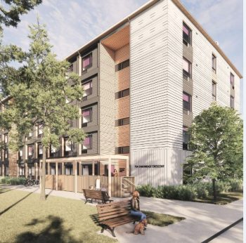 Preliminary artist's rendering of the modular building showing the private entrance to a five storey building on Tandridge Crescent
