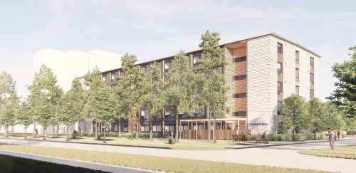 Preliminary artist's rendering of the modular building – Looking East on Tandridge Crescent.