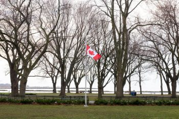 Image of a Canadian Flag that flew at Vimy Ridge, flying at half-mast at Coronation Park