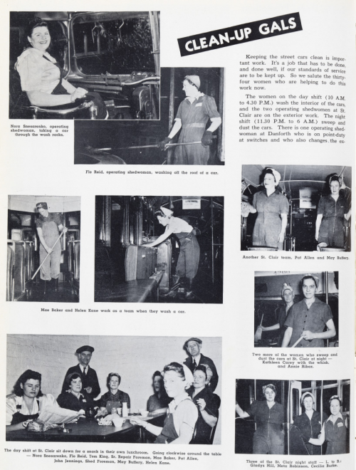 """Page one of photo essay titled """"Clean-up Gals"""" about women cleaning streetcars and buses."""