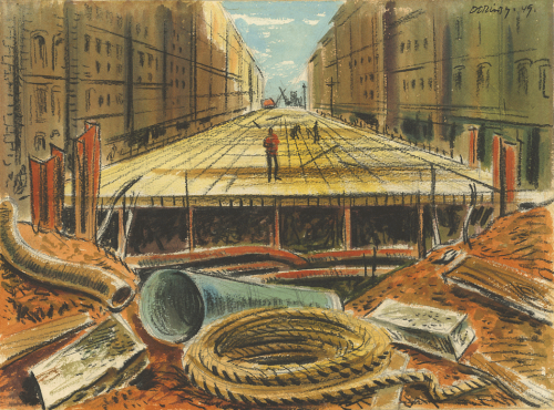 A wide wooden platform covers an excavation over Yonge Street. Stores line the road. In the foreground are a coil of rope, a pipe, and other debris.