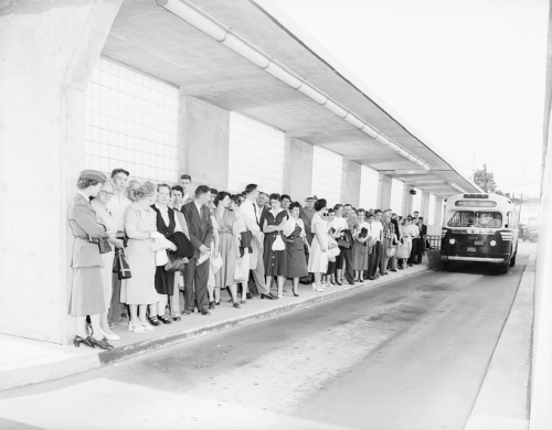 People are standing in a line beside a bus in an outdoor but roofed bus bay.
