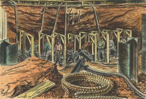 Workers are digging under rectangular wooden braces in an large excavation in the ground. They are surrounded by I-beams, a coil of rope, and conduits.