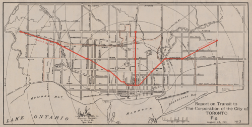 Map of Toronto showing in red a subway line up Yonge Street, and also two other lines going diagonally north-west and north-east out of the city core.