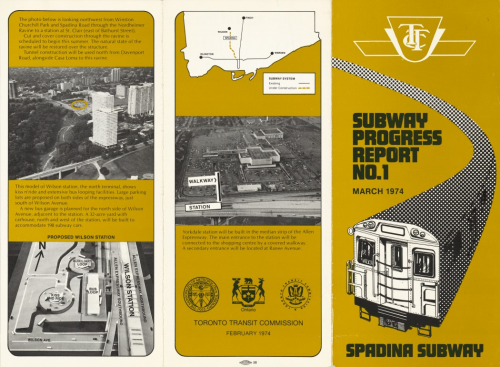Pamphlet with aerial views of route and model of Wilson Station