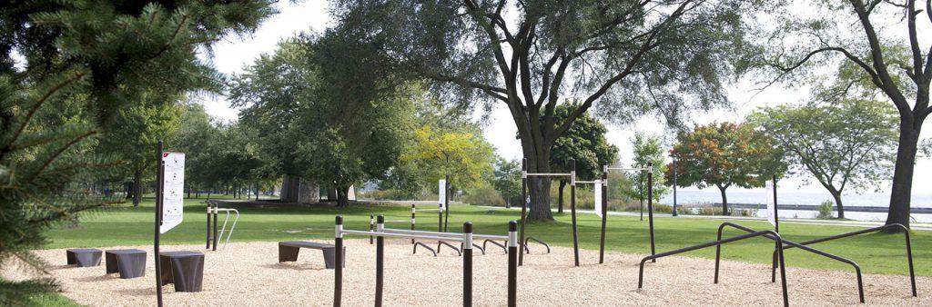 Outdoor fitness equipment in Sir Casimir Gzowski Park, Toronto