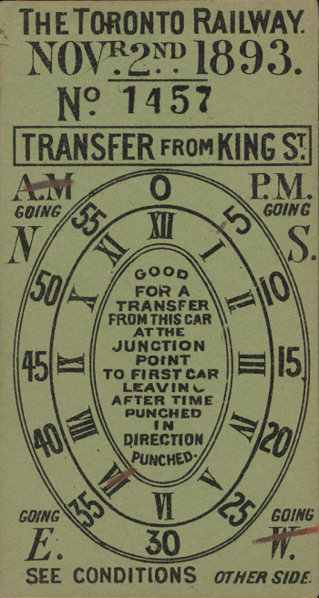 This transfer has printed ovals on it with both Roman numerals and numbers, crossed out with a red pencil to indicate times. It also shows whether it was used in the a.m. or the p.m. the route a rider was transferring from, and whether the streetcar was going east or west..
