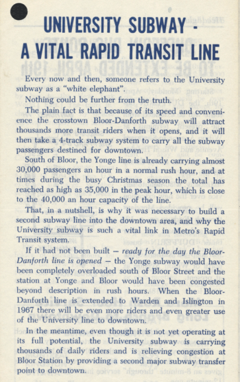 Pamphlet page titled University Subway - a vital rapid transit line.