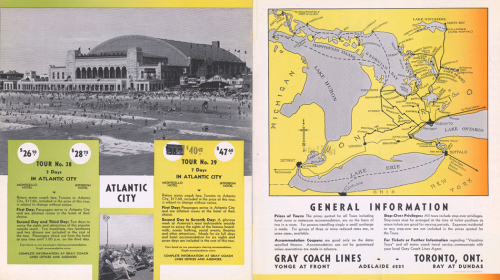 Vacation brochure advertising three-day or seven-day tour packages to Atlantic City. It includes a photograph of a large stadium and a beach, as well as a map of southern Ontario.