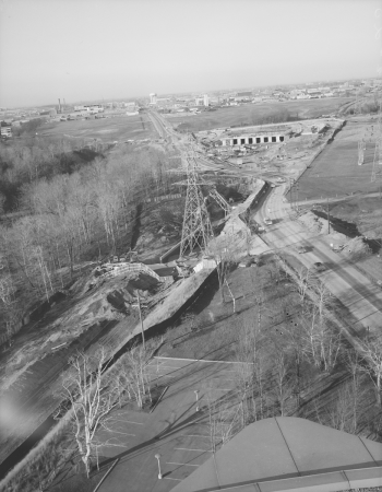 Aerial of construction of Warden Station and undeveloped area.