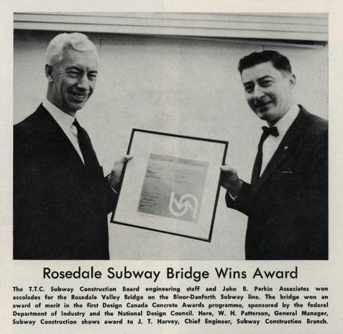 Article titled Rosedale Subway Bridge Wins Award.