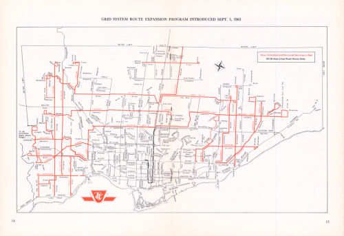 Route map of TTC showing bus routes following a grid system. The red lines indicate new or modified bus routes.