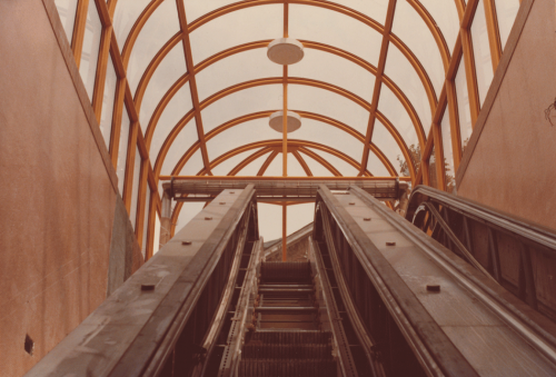 Unfinished escalator with large glass dome structure above