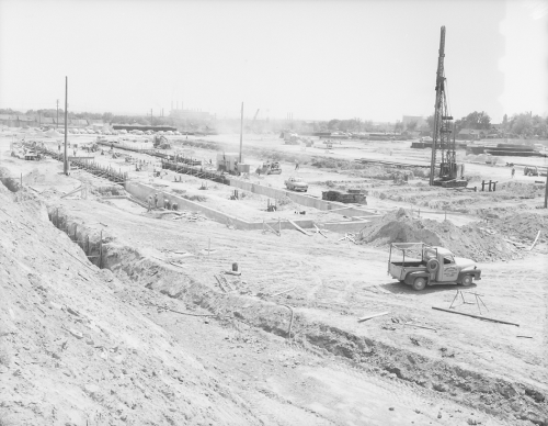 Pre construction showing clearing and preparation of site.