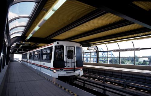 Train entering empty station.