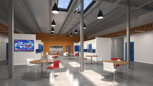 3D rendering of dining area at 705 Progress