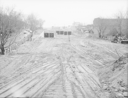Excavated area looking towards six box tunnel structures.