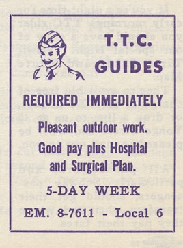 Advertisement for hiring of TTC Guides.