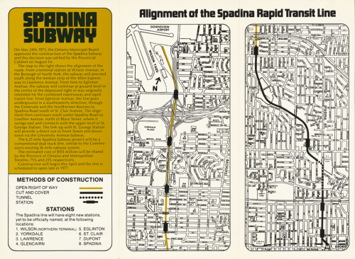 Pamphlet showing alignment of Spadina Subway line