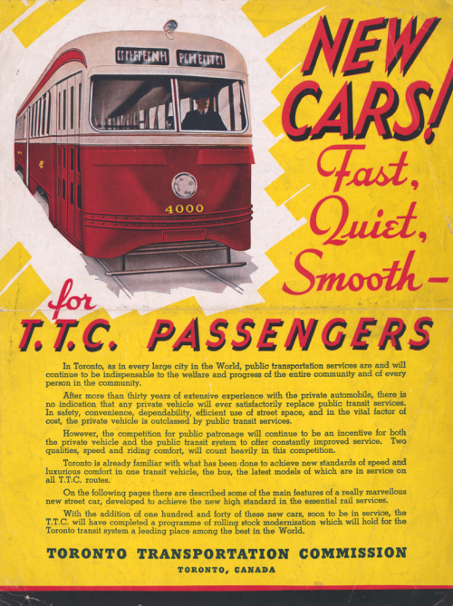 """A red and cream coloured streetcar is shown beside a title that reads """"New cars! Fast, quiet, smooth--for TTC passengers."""""""