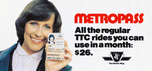 Toronto Transit Commission advertisement for the Metropass