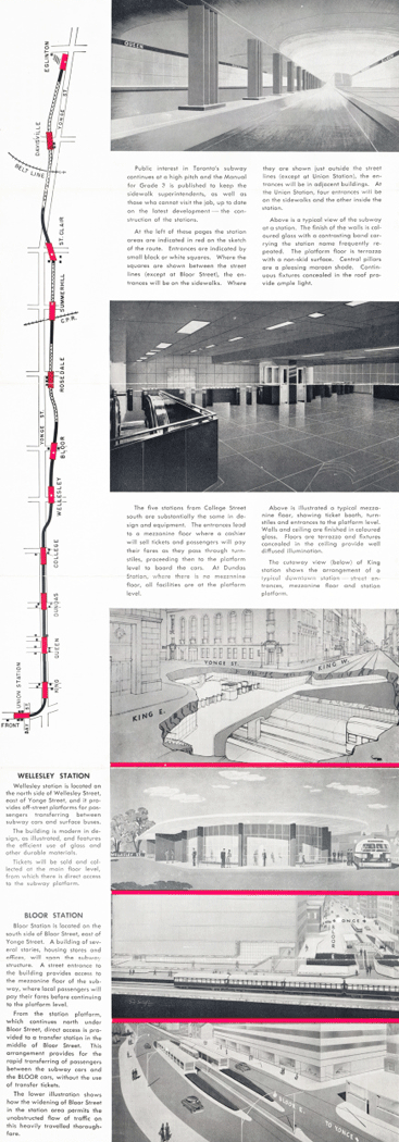 A brochure with a map of the subway route, photographs and illustrations of the stations, and descriptions of the stations and work.